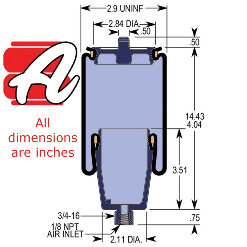 W02-358-7045 AirRide Diagram showing dimensions