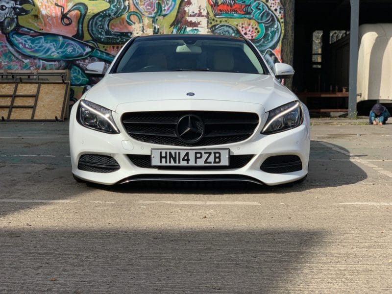 front of dropped bagged c class