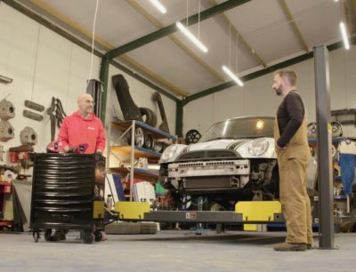Jimmy De Ville with Phil from AirRide being filmed for Goblin Works Mod Shop